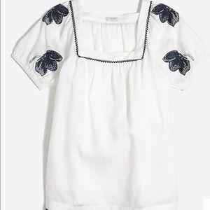 J Crew Factory | Linen Peasant T-Shirt White Large